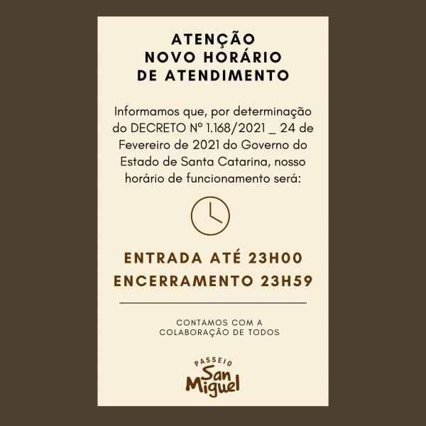 NOVO HORÁRIO DE ATENDIMENTO!